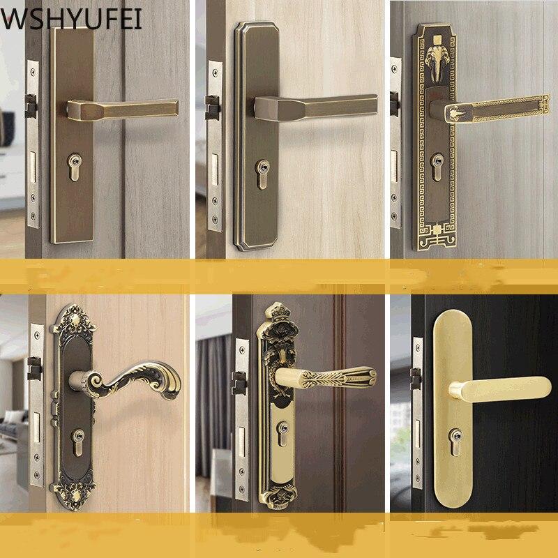 قفل باب نحاسي حديث عتيق ، قفل باب داخلي لغرفة النوم ، قفل بمقبض نحاسي نقي ، قفل ميكانيكي صامت للأثاث