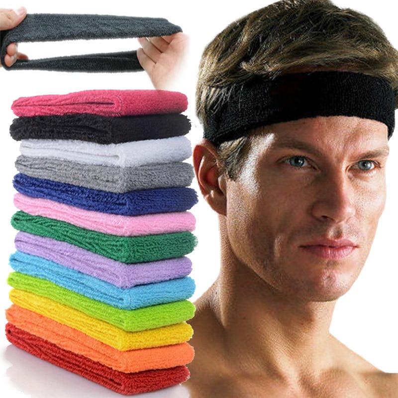 Unisex Sport Cotton Sweatband Headband for Men Women Yoga Hairband Gym Stretch Head Bands Strong Elastic Fitness Basketball Band