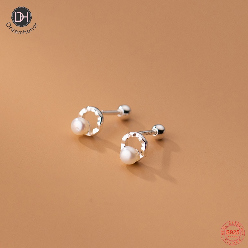 pe 005 free shipping freshwater round white pearl drop earrings 925 sterling silver earrings jewelry Dreamhonor Drop Shipping 925 Sterling Silver Women Pearl Twist Circle Round Ball Stud Earrings Birthday Gifts