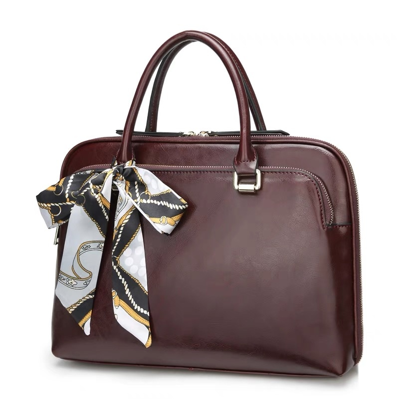 New Cowhide Women's Briefcase Business Handbag Women Genuine Leather Bag 14.6 Inches Laptop Computer Bag Office Bags For Female