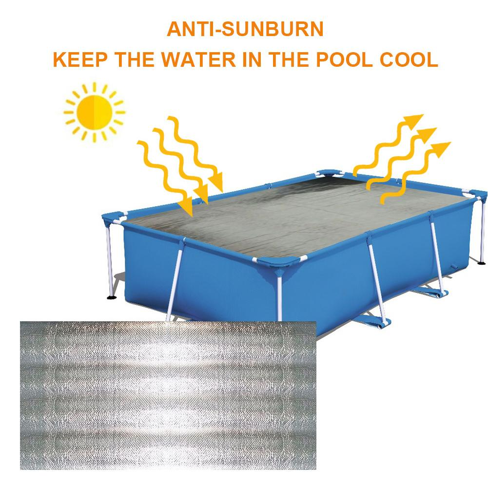 Está quente!! Cobertura solar da piscina à prova drainágua à prova de chuva anti queimaduras solares cobertor retangular para a piscina