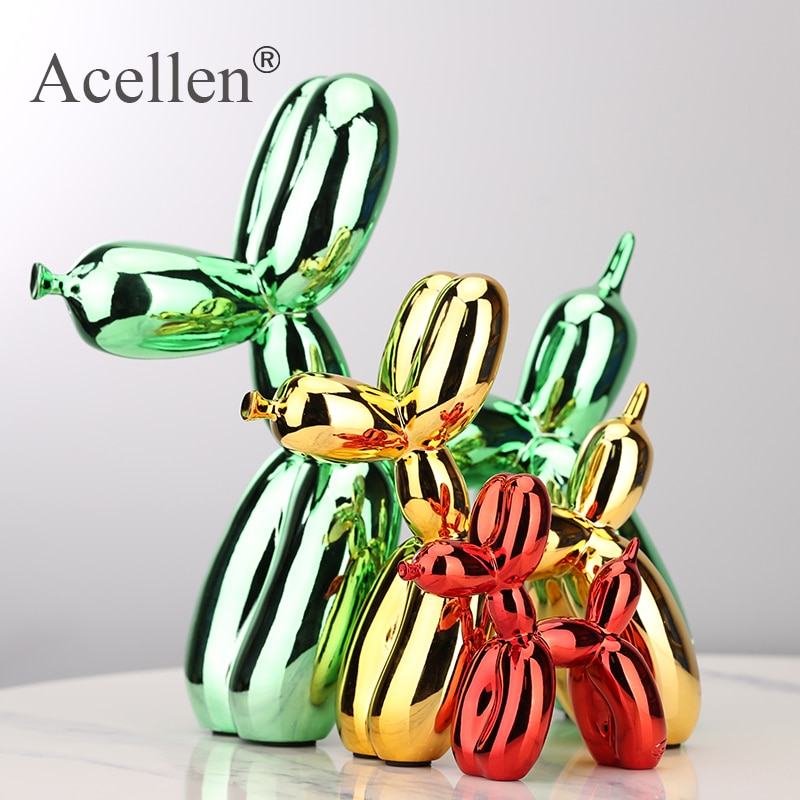 Plating balloon dog Statue Resin Sculpture Home Decor Modern Nordic Home Decoration Accessories for Living Room Animal Figures недорого