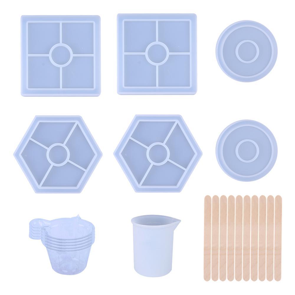 Molde de resina de silicona conjunto cuadrado redondo hexagonal epoxi molde con taza de medición palo de madera DIY posavasos accesorios de decoración del hogar