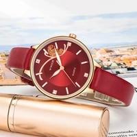 wwoor top brand luxury fashion diamond wrist watch for women dress casual quartz watch ladies red leather waterproof clocks 2021