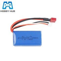 7.4 v 1400 mah lipo bateria para wltoys a949 A959-B A969-B A979-B K929-B peças de carro controle remoto 2 s 103052 bateria t plug 1pcs