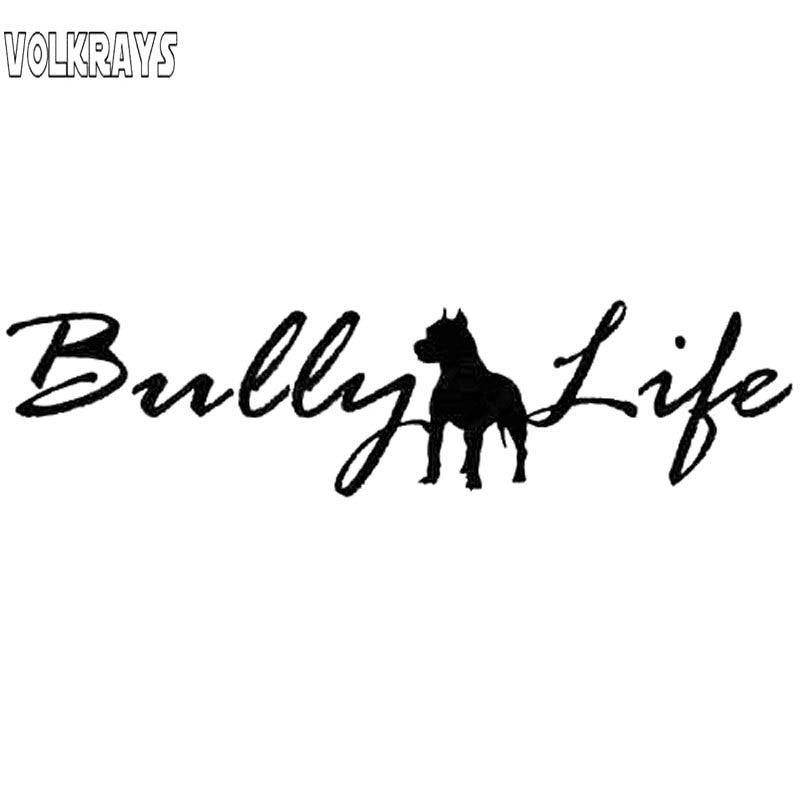 Volkrays Fashion Car Sticker Buly Life Pit Bull Dog  Accessories Reflective Waterproof Vinyl Decal Black/Sliver,6cm*29cm