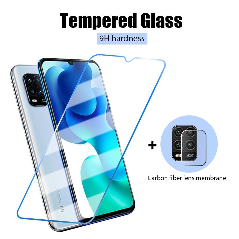 2 in 1 Protective Tempered Glass For Xiaomi mi 10 9 Lite High Hardness Screen Protector Camera Film ForXiaomi mi A1 A2 A3 Lite
