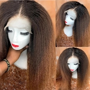 1B 27 Ombre Brown Middle Part Kinky Straight 13*4 Lace Front Synthetic Hair Wigs High Temperature Wig For Black Women Preplucked