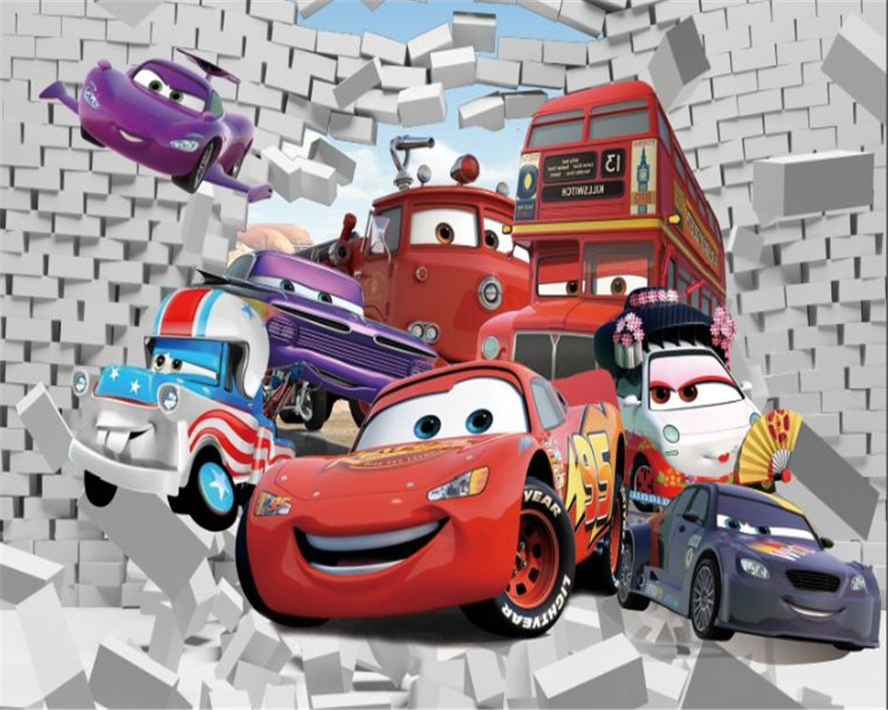 beibehang Custom size wallpaper Nordic minimalist cartoon car childrens room decoration background 3D Paped Pared