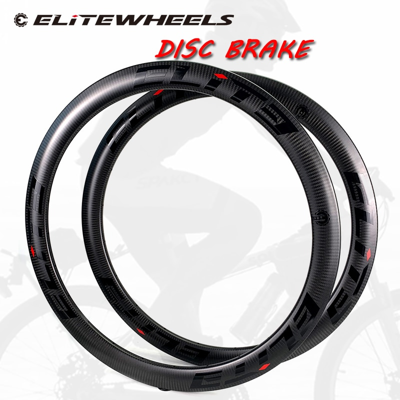 ELITE 700c Road Disc Carbon Rim 47mm Tubeless 3K Twill Matte Finish Rims 27mm Width For Cyclocross Road Disc Brake Bicycle Wheel