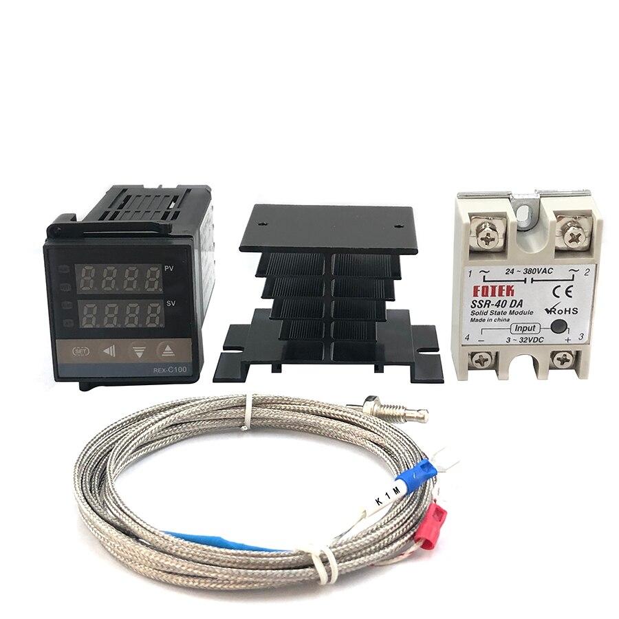 REX-C100 digital pid controlador de temperatura termostato ssr saída + max.40a ssr relé + k sonda termopar alta qualidade rkc