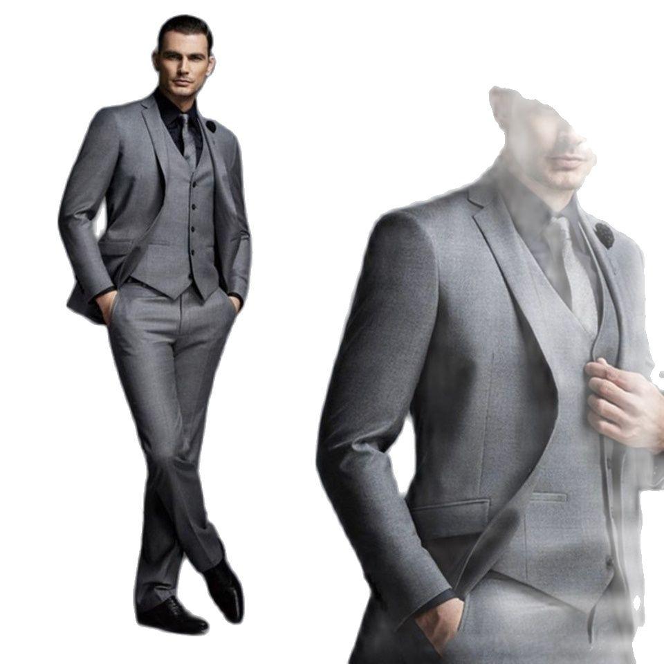 Модные красивые темно-серые мужские костюмы, блейзер для жениха, свадебные костюмы для лучших мужчин, приталенный мужской смокинг (пиджак + ...