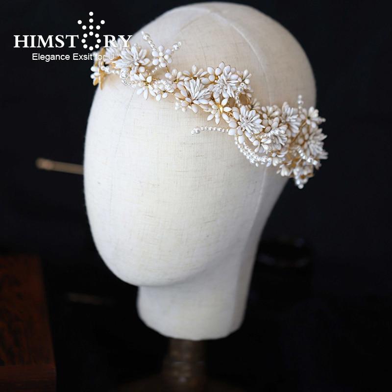Himstory Headbands عصائب زهرة يترك الزفاف إكسسوارات الشعر النساء العروس تيارا Hairband تظهر حزب اليدوية الشعر مجوهرات