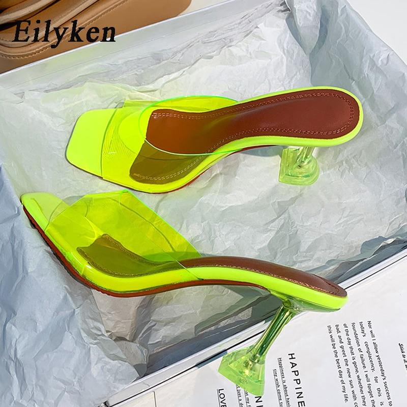 Eilyken-حذاء نسائي أخضر من مادة PVC ، حذاء مفتوح من الأمام ، كعب عالي ، صندل شفاف بكعب عالٍ