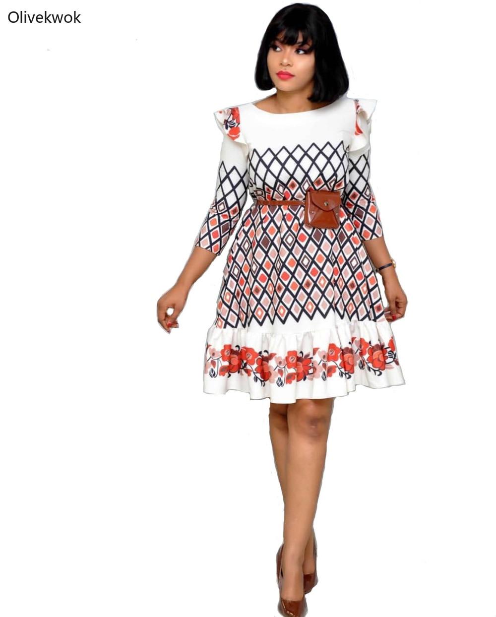 Olivekwok African Dresses for Women Casual O-Neck Half Sleeve Print with Small Waist Bag Decoration Big Swing Mini Dress AM348