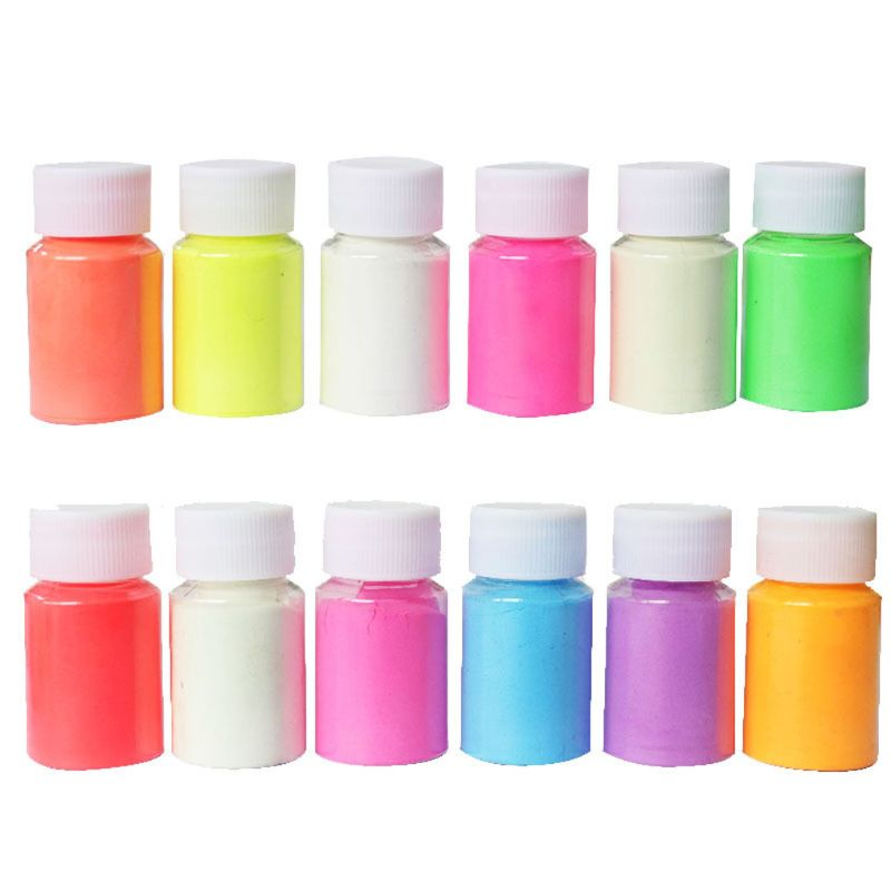 12 Color 20g Luminous Resin Pigment Kit Glow In the Dark Powder Pigment Colorant Dye Fluorescent  Resin Jewelry Making
