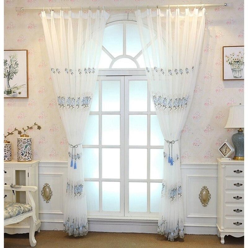 Cortina de gasa con cuentas para puerta, velo de gasa para sala de estar, puerta, ventana, bordada, cortinas transparentes, Floral europeo
