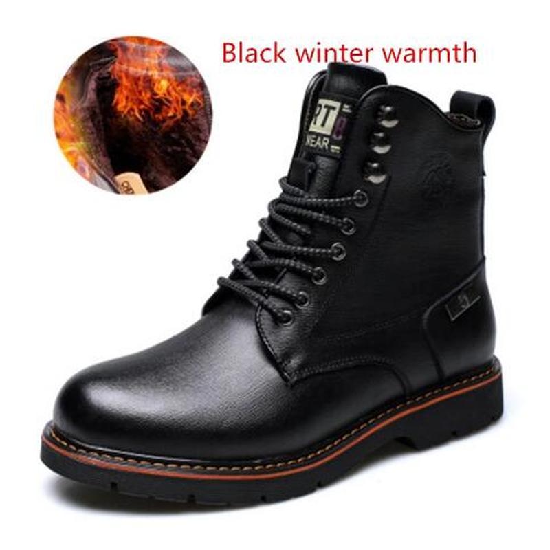 Botas de Neve Masculinos em Estilo Outono-inverno Grande Tamanho Sapatos Vintage Masculinos Moda Casual Alta Corte Laço-up Quente Hombre 38-44