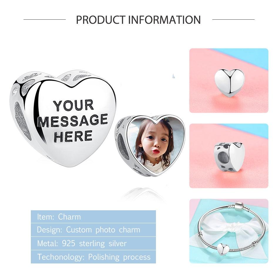 ELESHE نقش اسم تخصيص صورة 925 فضة القلب خرزة ساحرة ملائمة سوار الأصلي لتقوم بها بنفسك مجوهرات للنساء 2021 #3