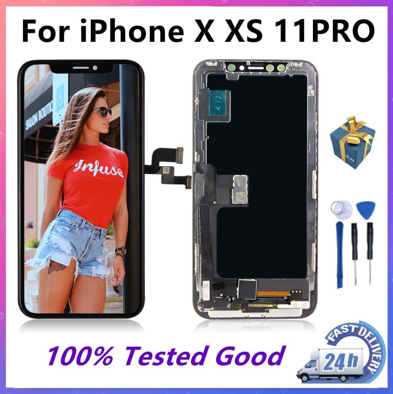 جديد شاشة عرض OLED Pantalla لهاتف Iphone X XS MAX XR 11 Pro Max شاشة عرض محول رقمي مجمع بديل لهاتف GX سداسي اللون LCD 11pro