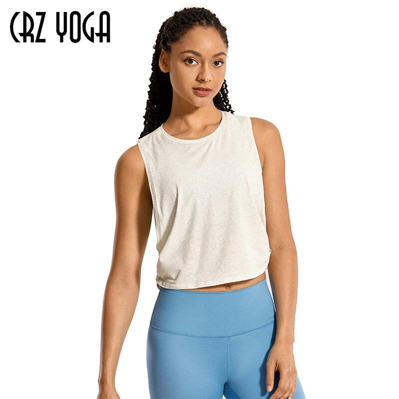 CRZ YOGA de las mujeres de algodón Pima tanque de Entrenamiento de deportes Camisa sin mangas Top para Yoga o correr