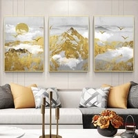 golden snow mountain canvas painting abstract posters and prints wall art pictures for living room home decoration no frame