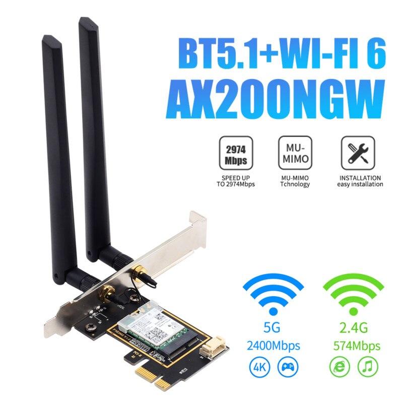 Беспроводная сетевая карта Intel AX200 PCI-e, Wi-Fi 6, 3000 Мбит/с, адаптер Bluetooth 5,1, 802.11ax 2,4G/5 ГГц, Двухдиапазонные антенны, MU-MIMO