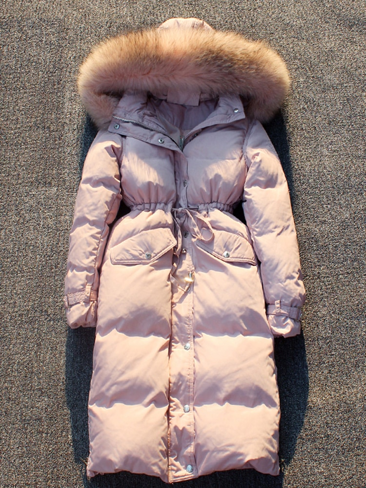 2021 winter fashion woman duck down coat long design over-the-knee large raccoon fur collar jackets pink blue black grey xxl 2xl