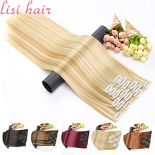 LISI HAIR-extensiones de pelo postizas sintéticas, 16 Clips, pelo largo y liso, Clip