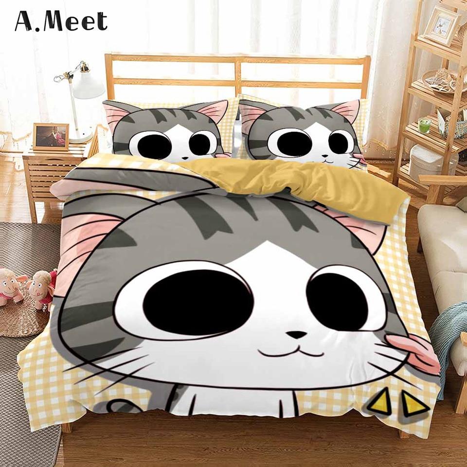 3D Cartoon Bedding Set For Kids Children Anime Linen Bed Cover Set Cat Print Duvet Cover Girls Boy Single Design NO Bed Sheets