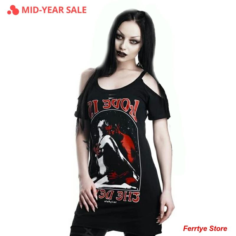 Imily Bela, camiseta gótica informal para mujer, camiseta de hombro descubierto con cuello redondo, manga corta, estampado de Diablo, Camiseta larga calada, camiseta de verano, S-3XL
