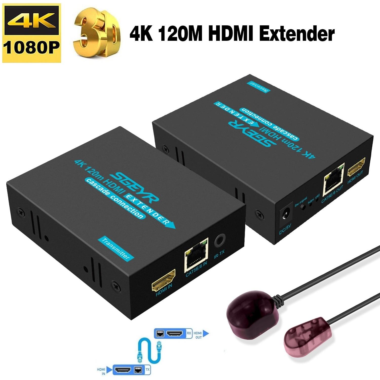 SGEYR-Extensor HDMI 4K, 120m sobre RJ45 Ethernet Cat5e Cat6, Extensor de Cable...