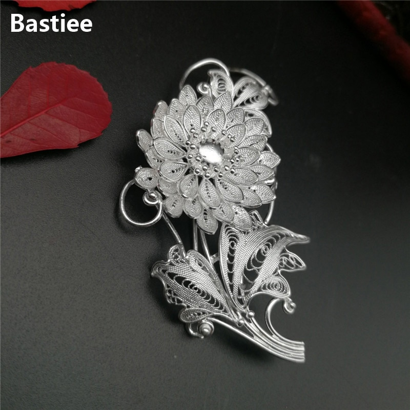 Bastiee-بروش من الفضة الإسترليني على شكل زهرة للنساء ، بروش ، 999 فضة استرلينية ، هدية عيد ميلاد للأم أو الصديق