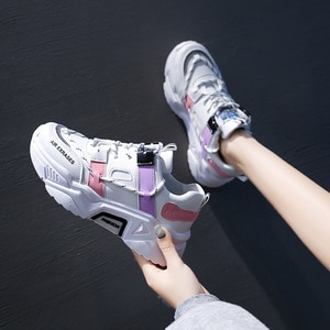 Women Shoes 2021 New Vulcanized Shoes Color Matching Thick Soled Women Shoes Lace Up Running Shoes Women Leisure Sports Shoes