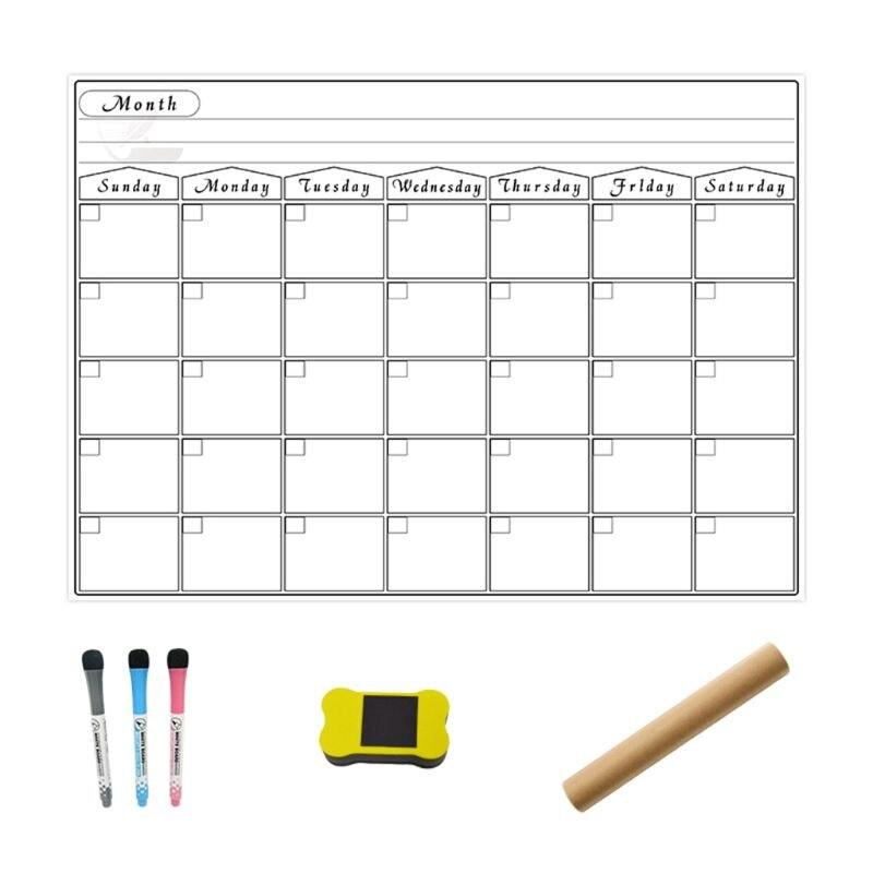 A3 Magnetic Whiteboard Monthly Planner Calendar Fridge Magnet Erasable Flexible Message Drawing Board Refrigerator Bulletin