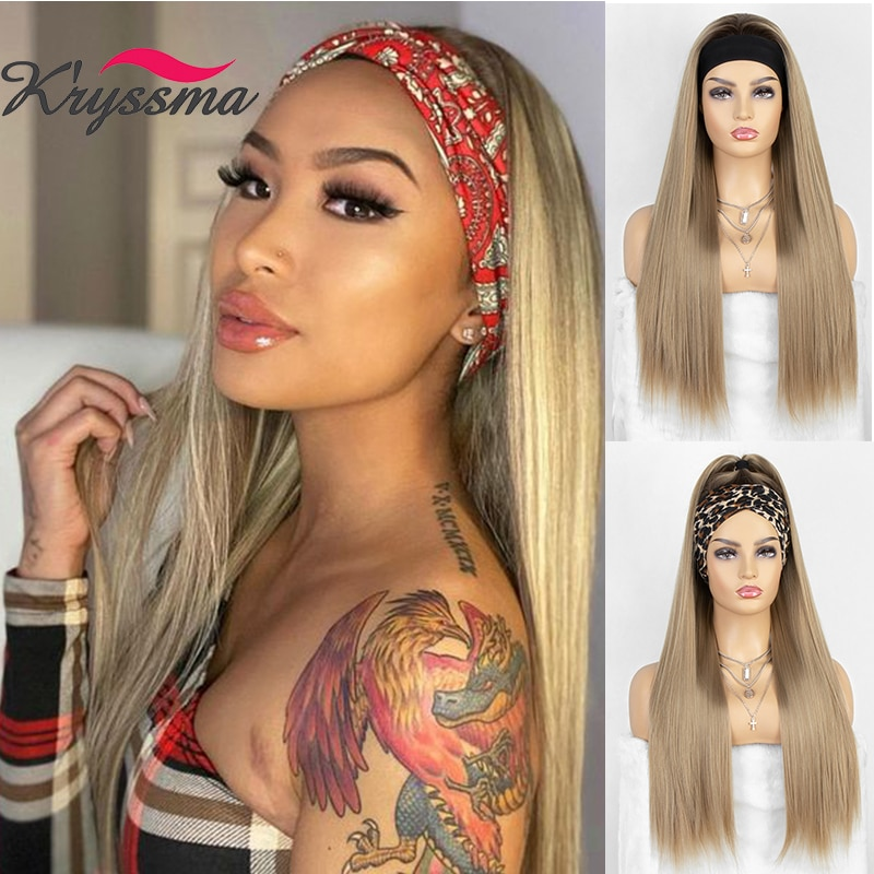 kryssma Silky Straight Golden headband synthetic Wigs for women Natural brown/Golden Synthetic Wig Full Machine Made Hair Wig