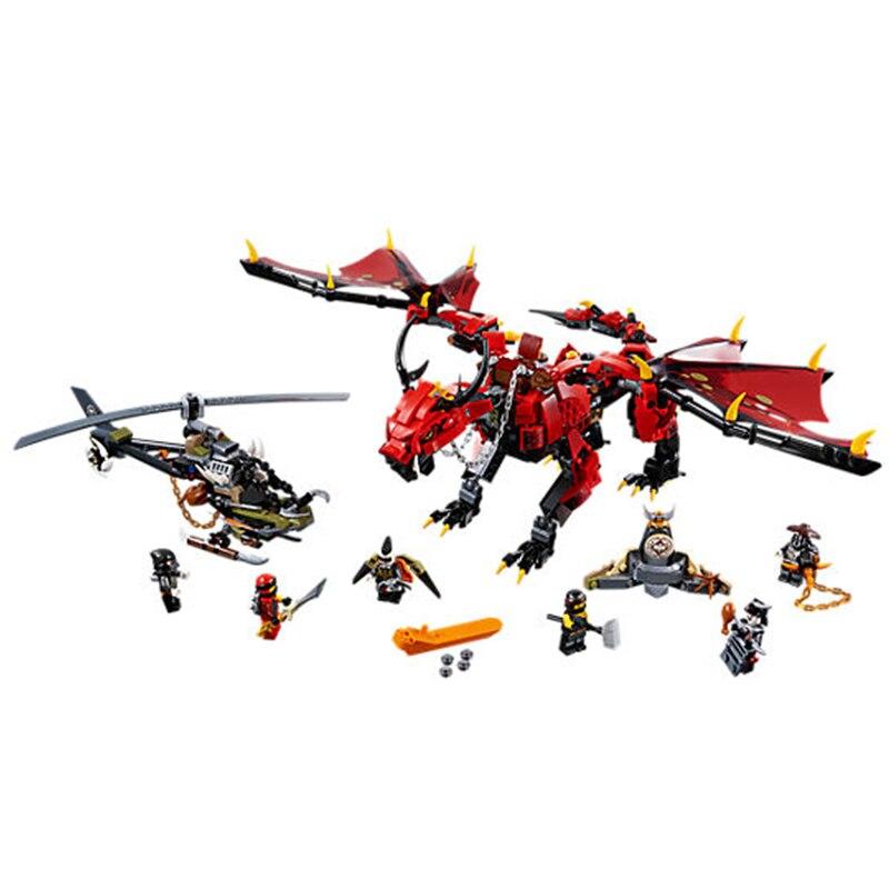Ninja filme figuras de ação firstbourne caçador helicóptero dragão vermelho modelo blocos de construção tijolos brinquedo crianças presente