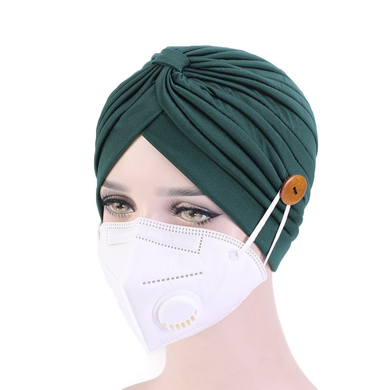 Plain Solid Color Turban Head Wrap Band Knotted Scarf Bandana Cap Button Chemo Hat Bandana Hair Cap