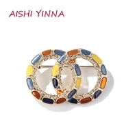 aishi yinna fashion antique double ring oil drip enamel brooch men and women vintage anti glare brooch jewelry gift