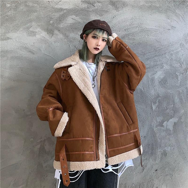 Winter Warm Dicken Lampe Jacke Frauen Zipper Outwear Dame Lose Faux Schafe Pelz Plüsch Top Mantel Kleidung