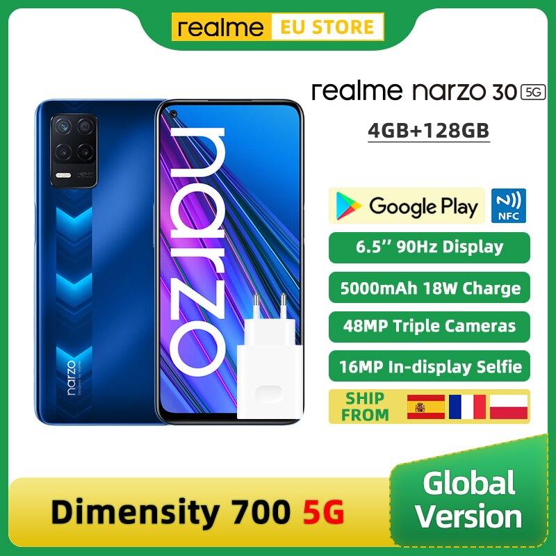Глобальная версия realme Narzo 30 5G смартфон 4 Гб 128 Dimensity 700 5G 6,5 дюйм 90 Гц Дисплей 48MP тройной Камера 5000 мА-ч