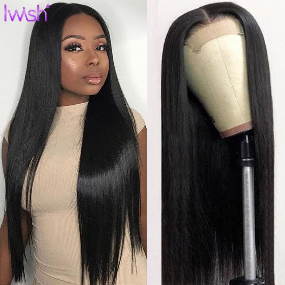 Peluca con malla frontal recta de 30 pulgadas pelucas de cabello humano brasileño pelucas de cabello humano frontal de encaje 4x4 peluca con cierre de encaje