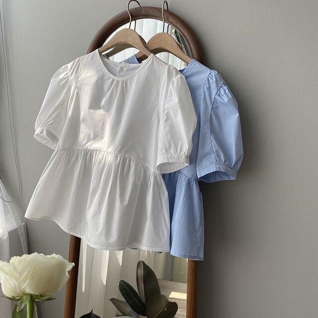 CMAZ  Blouses Women Summer O-neck Short sleeve Shirts 2021 New Women's High Waist Tops Summer Vintag