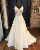 2019 simple boho wedding dresses a line v neck simple backless bridal gowns lace appliques spaghetti straps vestidos de noiva