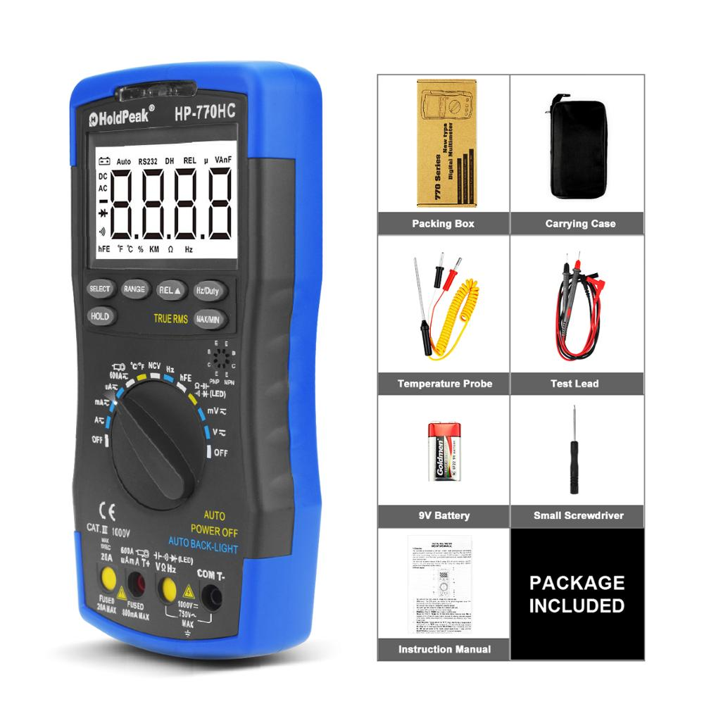 Купить с кэшбэком Multimetro HoldPeak HP-770HC True RMS Auto Ranging Digital Multimeter with NCV Feature and Temperature/Frequency/Duty Cycle Test