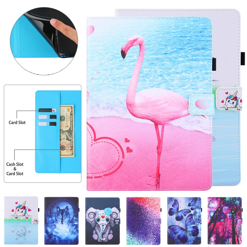 Coque para Samsung Capa para Funda Tablet Case Adorável Flamingo Unicórnio Flip Samsung Galaxy T500 T505 T507 Tab um 7 a7