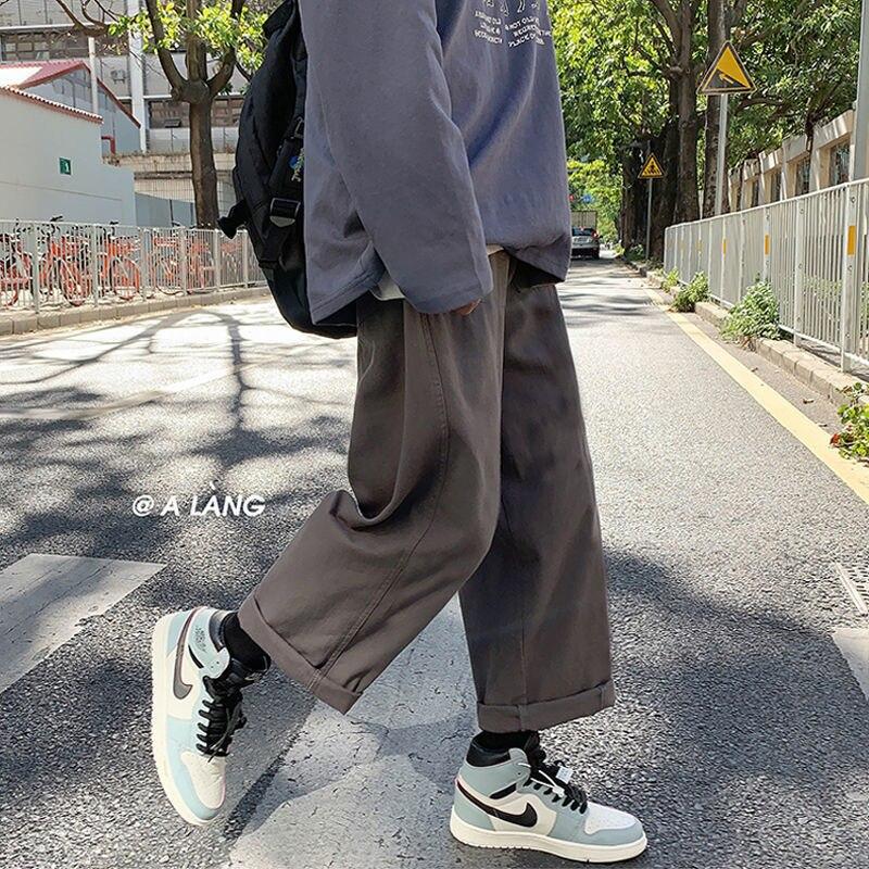 Мужские корейские Модные шаровары с широкими штанинами, джоггеры, мужские черные свободные японские спортивные штаны, Стильные прямые брюк...