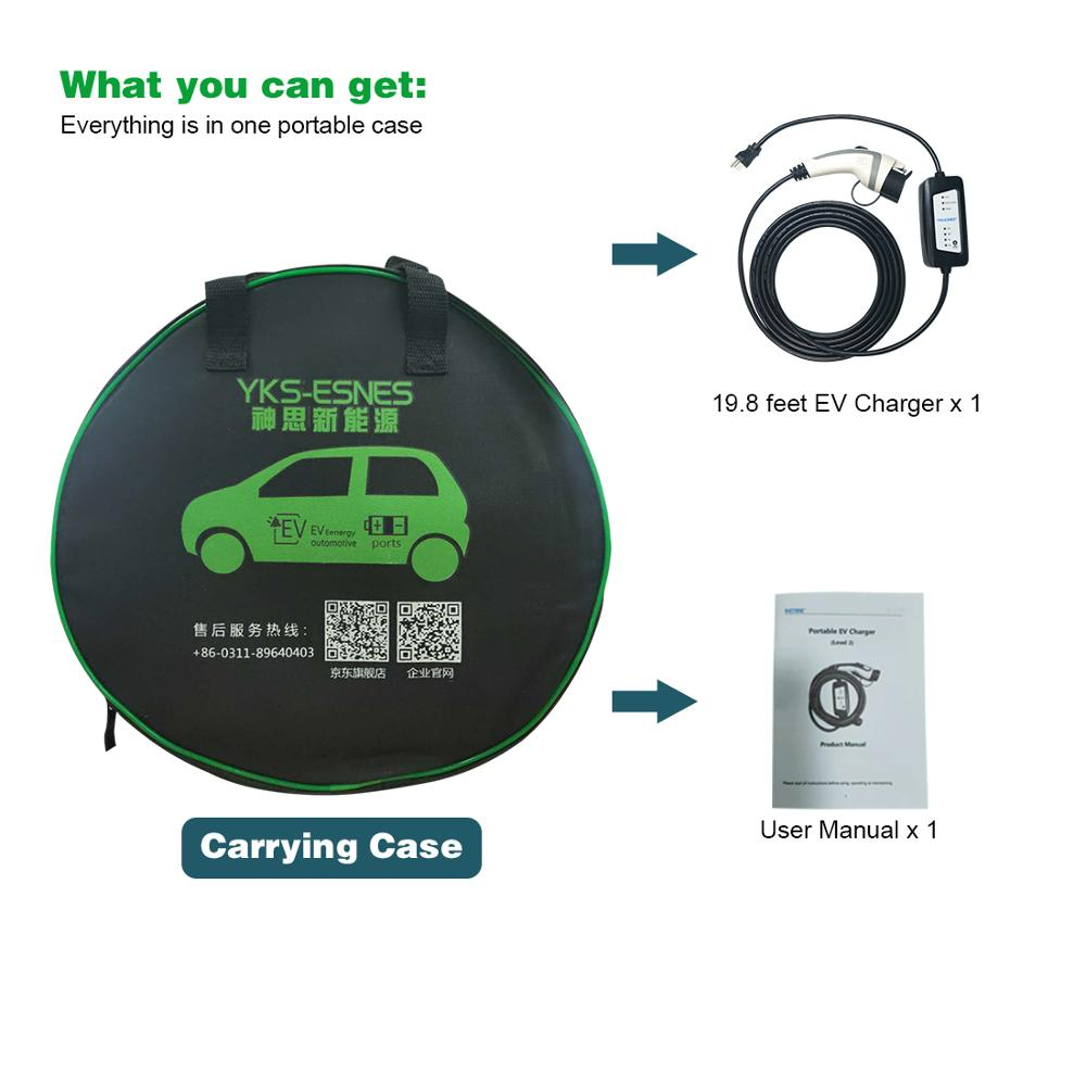 YKS-ESNES EVSE  Portable EV Charger IEC62196 6A 8A 10A 13A 16A  EU Standard Plug  10M  Type2 EV Charging enlarge