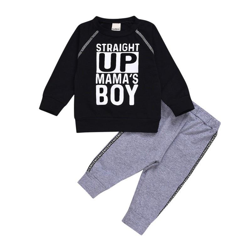 Autumn Baby Boys Long Sleeve Letter Print Tops+Pants Trouser Costume Set New