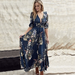 Maxi Long Printed Gowns For Summer Women Wear Long Gowns With Long Sleeves For Holiday Dresses V-neck Party Dresses Vestidos
